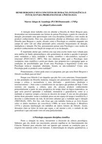 HENRI BERGSON E SEUS CONCEITOS DE DURAÇÃO, INTELIGÊNCIA E INTUIÇÃO PARA PROBLEMATIZAR A PSICOLOGIA