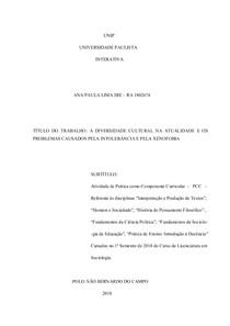 PCC 1 SEMESTRE - A DIVERSIDADE CULTURAL NA ATUALIDADE E OS PROBLEMAS CAUSADOS PELA INTOLERÂNCIA E PELA XENOFOBIA