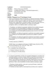 AVALIAÇÃO FINAL OBJETIVA Políticas Educacionais