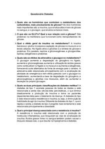 Questionário Diabetes RESOLVIDO - Bioquimica