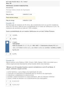 Apol 3 Psicologia e Estatística Nota 100