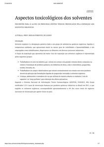 Aspectos toxicológicos dos solventes