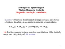 Reagente limitante - Gabarito