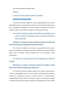 EAD- Direito Individual do Trabalho 01