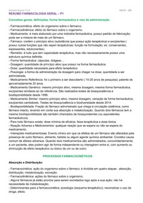 RESUMO FARMACOLOGIA GERAL P1