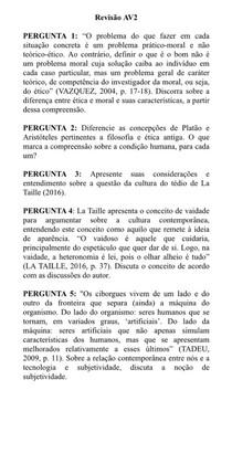 Revisão AV2 FILOSOFIA E ÉTICA 1ºPeríodo Psicologia