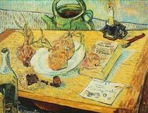 Vincent Willem van Gogh-ainda-vida-Desenho-Board-Pipe-Cebolas-e-Selagem-Wax