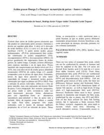 Acidos graxos Omega 3 e Omega 6 na nutricao de peixes fontes e relacoes