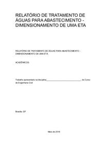 RELATÓRIO DE TRATAMENTO DE ÁGUAS PARA ABASTECIMENTO
