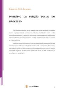 Princípio da função social do processo - Resumo