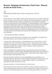 Resumo  Pedagogia da Autonomia  Paulo Freire   Resumo da obra de Paulo Freire .