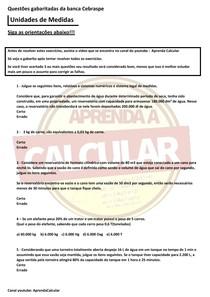 Questões gabaritadas da Banca Cebraspe , Unidades de Medidas#EXCLUSIVOPD