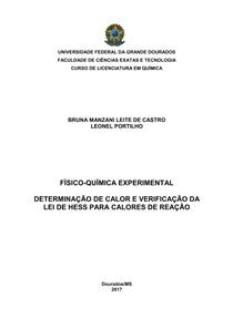 DETERMINAÇÃO DE CALOR E VERIFICAÇÃO DA LEI DE HESS PARA CALORES DE REAÇÃO