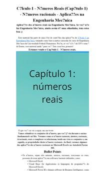 Cálculo 1 - Números Reais (Capítulo 1) - Números racionais - Aplicações na Engenharia Mecânica