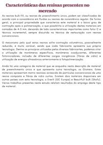 RESINAS PRESENTES NO MERCADO - BULK FILL