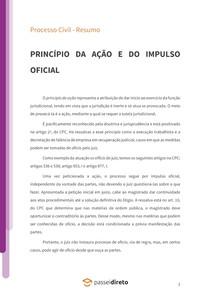Princípio da ação (demanda ou inércia) e Princípio do impulso oficial - Resumo