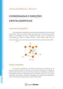 Coordenadas e direções cristalográficas - Resumo