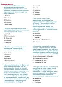 Questões sobre os Anti-hipertensivos + gabarito