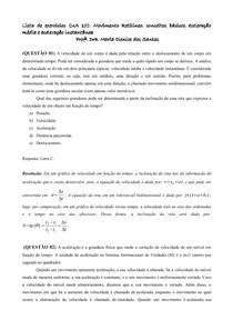 Lista UA 10_Movimento Retilíneo conceitos básicos aceleração média e aceleração instantânea