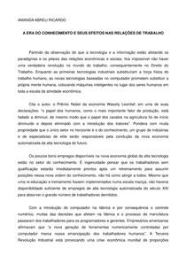 A ERA DO CONHECIMENTO E SEUS EFEITOS NAS RELAÇÕES DE TRABALHO