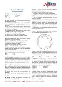 ENEM Exercícios de Matemática com Gabarito - Análise Combinatória