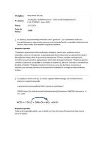 Avaliação Final(Discursiva) Individual Semipresencial - Bioquimica