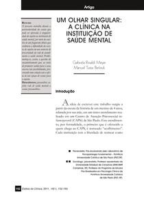 Um olhar singular  a clínica na instituição da saúde mental