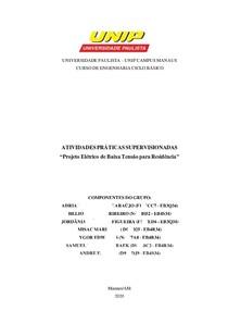 APS - Projeto Elétrico de Baixa Tensão para Residência
