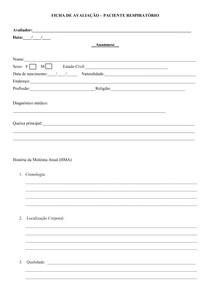 Ficha de avaliação fisioterapia respiratória
