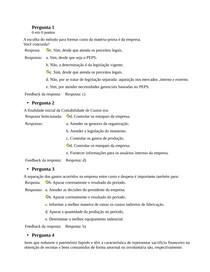 QUESTIONÁRIO UNIDADE I CONTABILIDADE DE CUSTOS