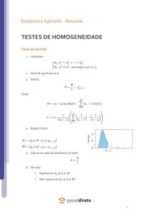Teste de homogeneidade - Resumo