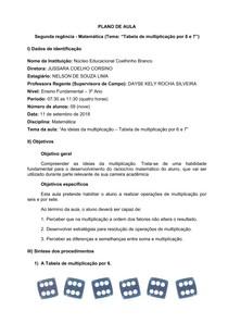 Plano de Aula - Matemática - 3 Ano EF - Tabela multiplicação por 6 e 7