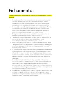 Fichamento - Psicoterapias I