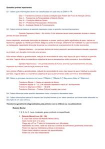Exercício Psicopatologia I (Terceira Prova)