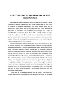 As Regras do Metodo Sociologico - Durkheim