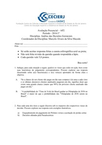 AP2   2016.1   Análise das Decisões Gerenciais