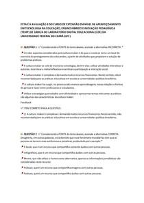 AVALIAÇÃO 3 DO CURSO DE EXTENSÃO EM NÍVEL DE APERFEIÇOAMENTO EM TECNOLOGIA NA EDUCAÇÃO, ENSINO HÍBRIDO E INOVAÇÃO PEDAGÓGICA
