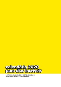 calendario 2020 para dias incríveis
