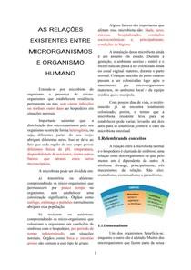 AS RELAÇÕES EXISTENTES ENTRE MICRORGANISMOS E ORGANISMO HUMANO