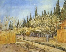 Vincent Willem van Gogh-pomar-em-flor-limitada-por-Ciprestes-Blue
