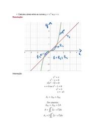 Área entre as curvas usando integral integral