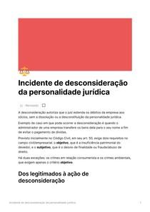 Incidente de desconsideração da personalidade jurídica