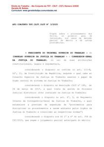 Direito do Trabalho - Ato Conjunto do TST - CSJT - CGTJ Número 3 de 2020
