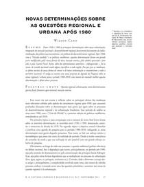 Novas Determinações Sobre Questões Regional e Urbana após 1980 - Wilson Cano