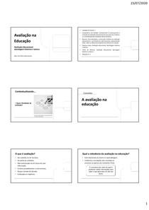 slide unidade 1 - Avaliação na educação
