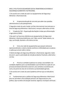 APOL 2 POLITICA DE SEGURIDADE SOCIAL TRANFERENCIA DE RENDA E SEGURANÇA ALIMENTAR E NUTRICIONAL