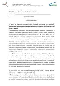 ATIVIDADE BIOLOGIA DOS ORGANISMOS-PEDAGOGIA UEM