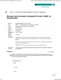AOL 3 PROGAMACAO DE COMPUTADORES UNINASSAU