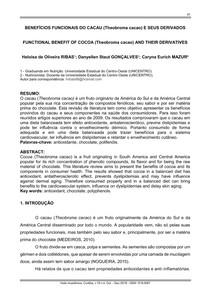 BENEFÍCIOS FUNCIONAIS DO CACAU