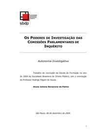 OS PODERES DE INVESTIGAÇÃO DAS COMISSÕES PARLAMENTARES DE INQUÉRITO